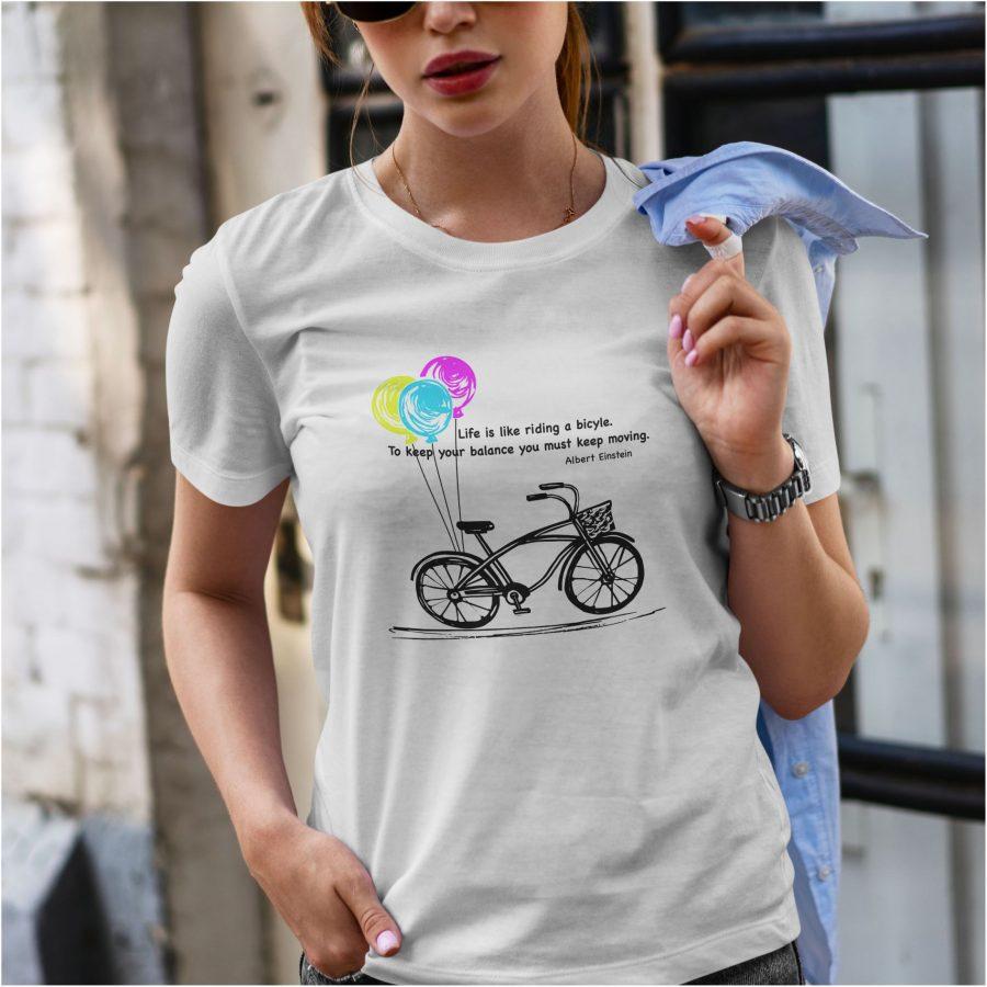 Tricou dama bicycle alb
