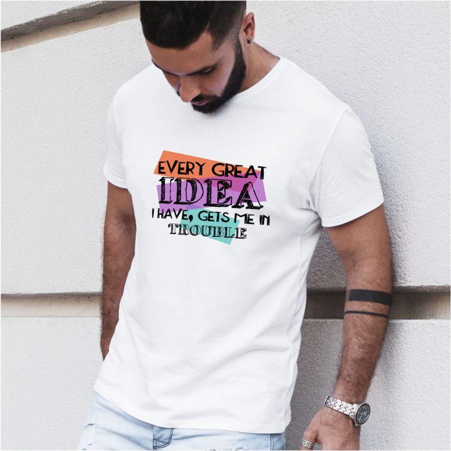 tricou personalizat ALB BARBAT- Great Idea
