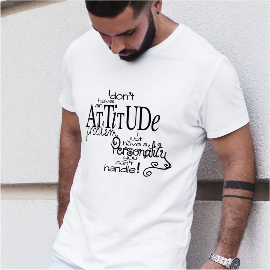 tricou personalizat alb Attitude barbat