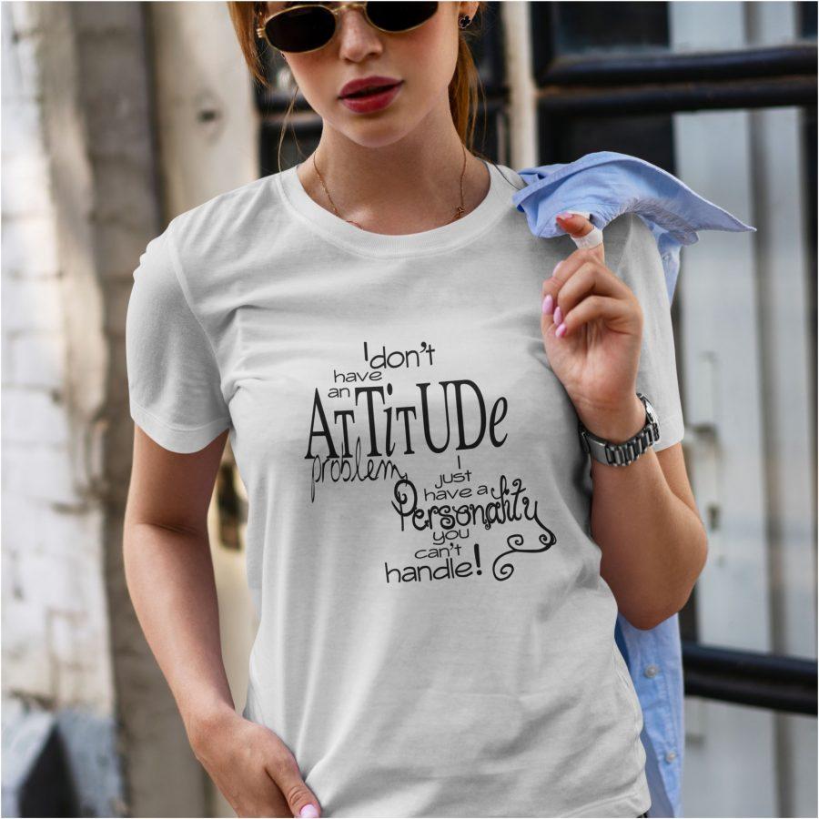 tricou personalizat alb Attitude dama