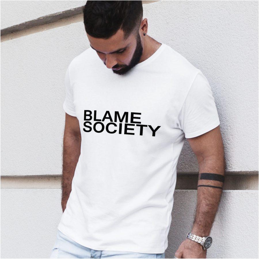 tricou personalizat alb Blame Society barbat