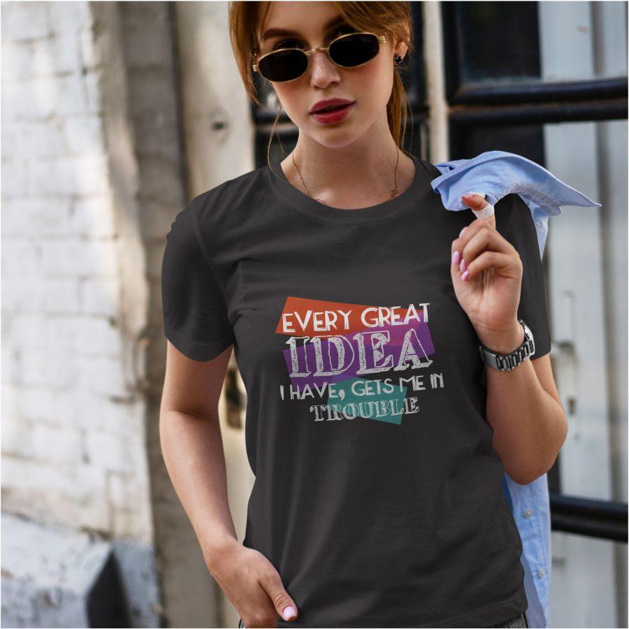 tricou personalizat negru Dama - Great Idea