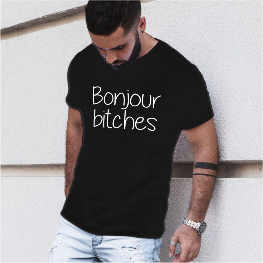 tricou personalizat negru barbat Bonjour Bitches