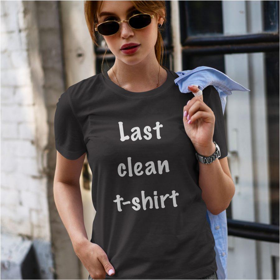 tricou personalizat negru dama Last Clean T-Shirt