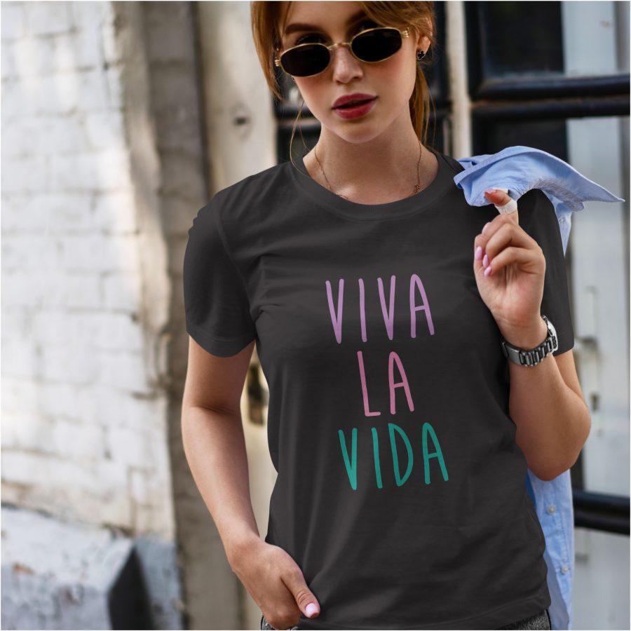 tricou personalizat dama negru dama- Viva la Vida