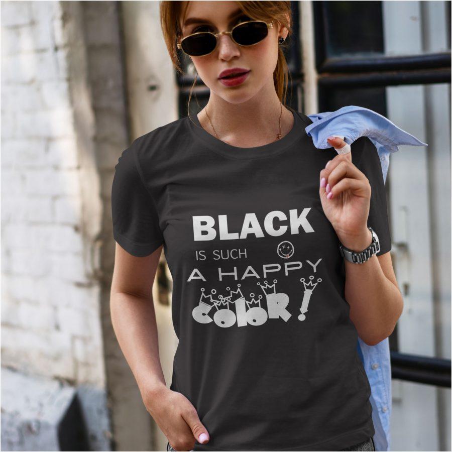 tricou personalizat negru Black - Happy COLOR! dama