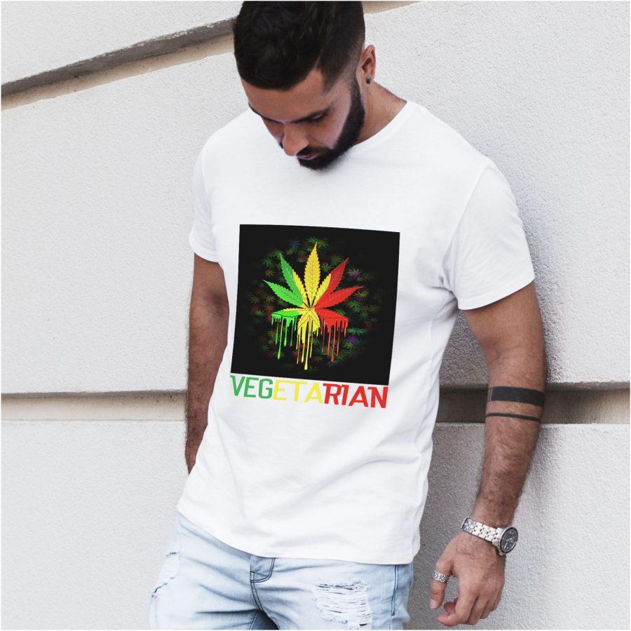 tricou alb barbat personalizat vegetarian