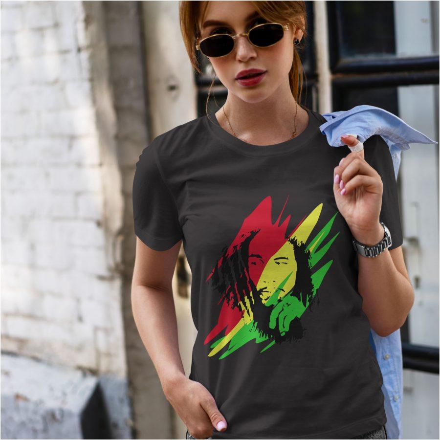 tricou dama negru personalizat Bob Marley