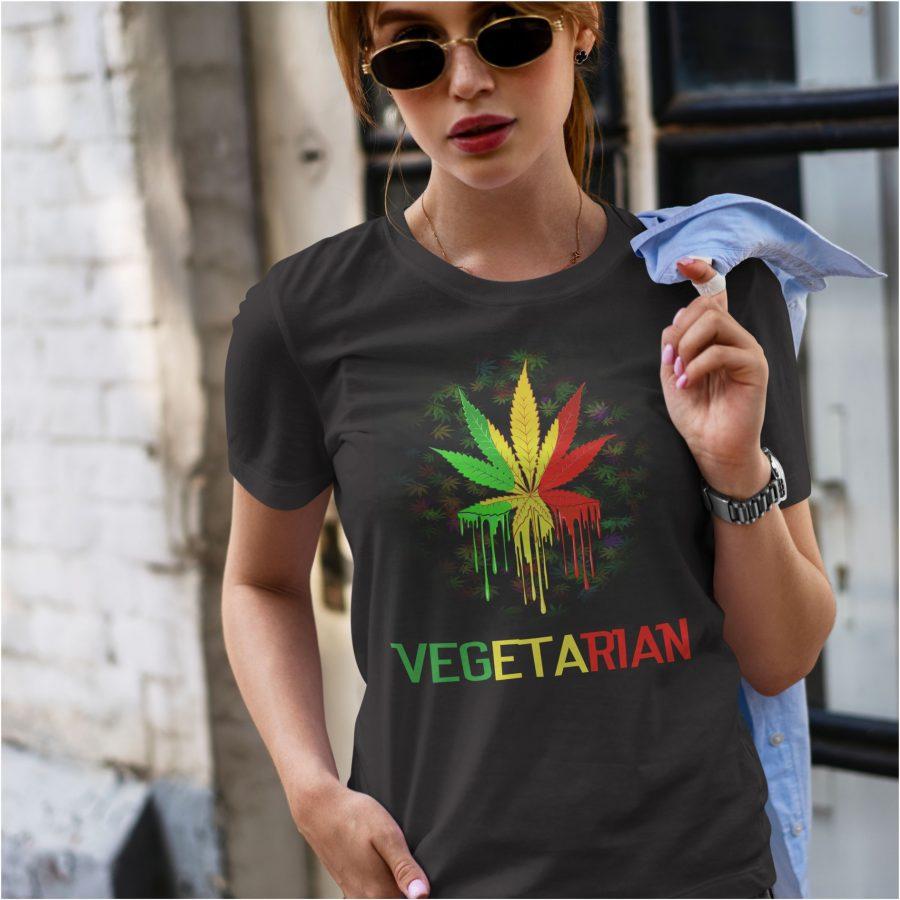 tricou negru dama PERSONALIZAT vegetarian