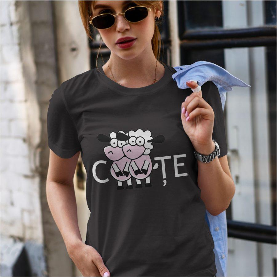 tricou negru dama personalizat cOIte
